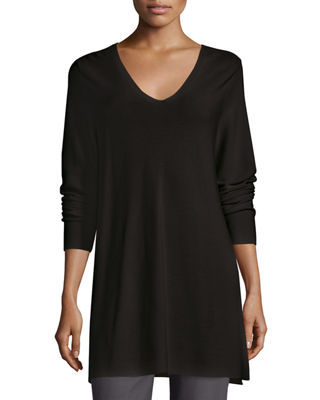 Eileen Fisher Crisp Cotton Links Long-Sleeve V-Neck Tunic,