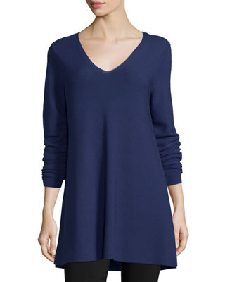Crisp Cotton Links Long-Sleeve V-Neck Tunic, Petite