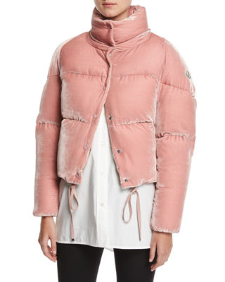 Cercis Quilted Velvet Down Jacket in Pink