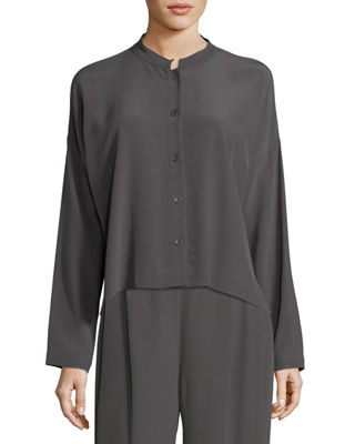 Eileen Fisher Long-Sleeve Mandarin-Collar Crinkle Crepe Box Top