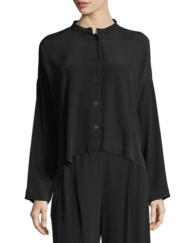 Long-Sleeve Mandarin-Collar Crinkle Crepe Box Top, Plus Size