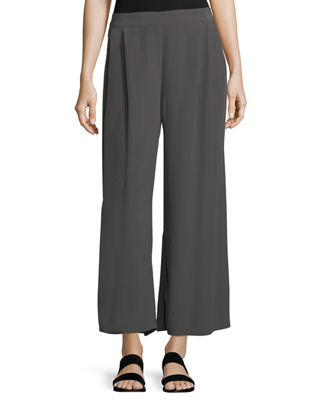 Crinkled Crepe Wide-Leg Pants