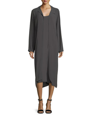 Eileen Fisher Long Crinkled Crepe Duster Cardigan
