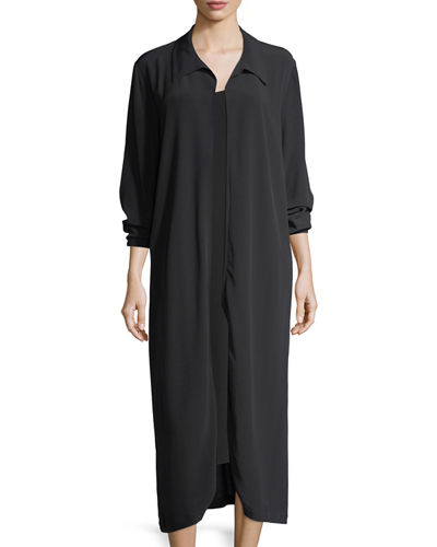 Eileen Fisher Long Crinkled Crepe Duster Cardigan, Petite