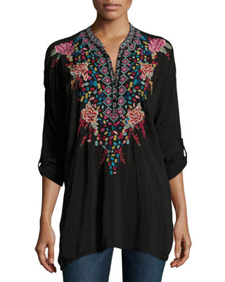 Gemstone Embroidery Long-Sleeve Blouse