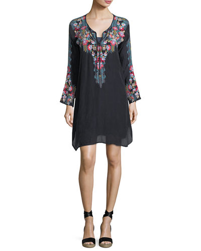 Johnny Was Tanyah Tie-Neck Embroidered Dress w/ Slip,