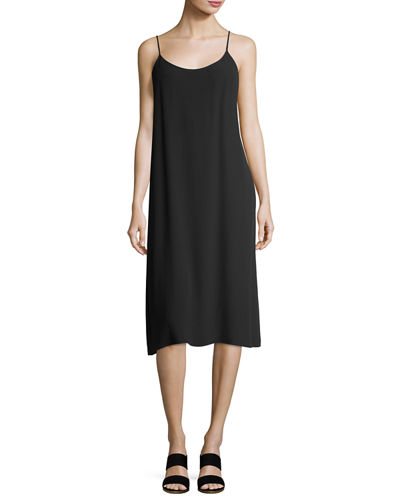 Eileen Fisher Crinkled Crepe Camisole Dress, Petite