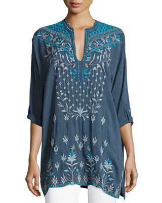 Johnny Was Spring Dolman Georgette Blouse W/ Embroidery