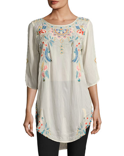 Johnny Was Spring Dolman Georgette Blouse W/ Embroidery,