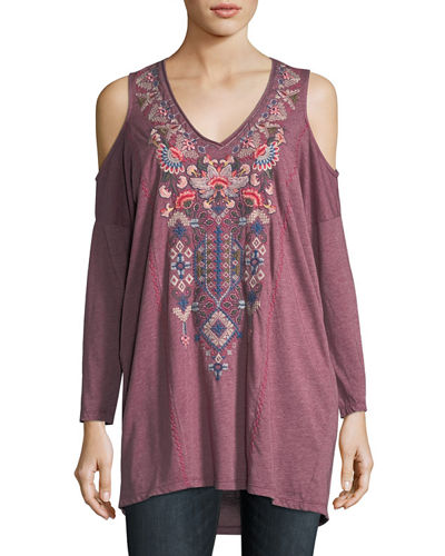 Johnny Was Nindi Cold-Shoulder Embroidered Top