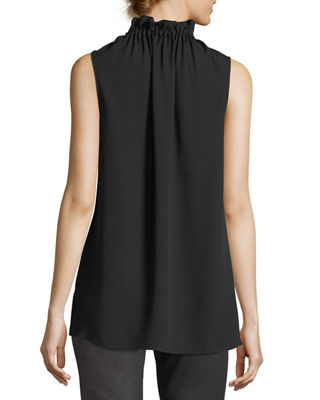 Image 3 of 5: Percy Sleeveless Silk Blouse