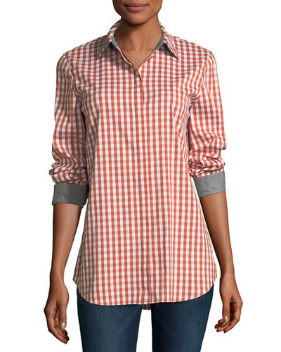 Lafayette 148 New York Brody Long-Sleeve Hampton Check