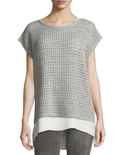 Short-Sleeve Open-Stitch Sequin Cashmere Sweater