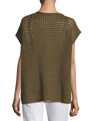 Image 2 of 2: Short-Sleeve Open-Stitch Sequin Cashmere Sweater