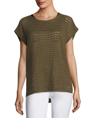 Image 1 of 2: Short-Sleeve Open-Stitch Sequin Cashmere Sweater