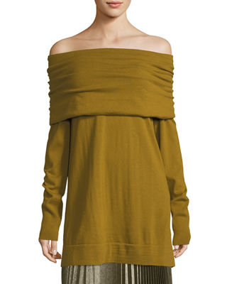 Lafayette 148 New York Cozy Wool Flannel Off-the-Shoulder