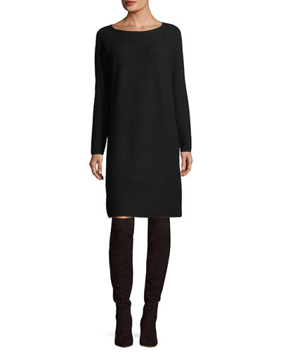 Cozy Rib-Knit Flannel Sweaterdress