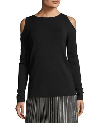 Merino Wool Cold-Shoulder Sweater