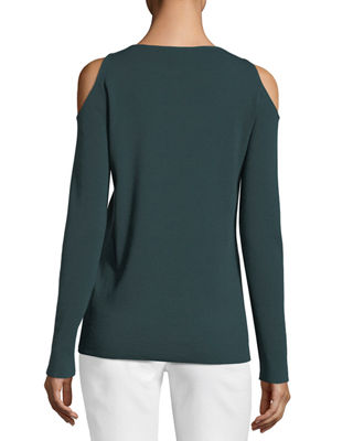 Image 2 of 2: Merino Wool Cold-Shoulder Sweater