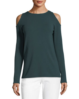 Image 1 of 2: Merino Wool Cold-Shoulder Sweater
