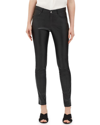 Mercer Mid-Rise Leather Skinny Jeans, Black