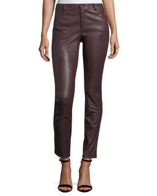 Lafayette 148 New York Mercer Mid-Rise Leather Skinny