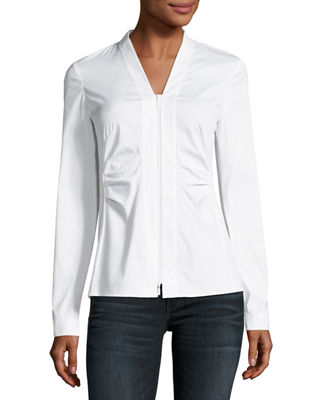 Lafayette 148 New York Erling Zip-Front Stretch-Cotton Blouse
