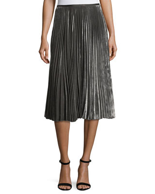 Lafayette 148 New York Ranella Pleated Velvet Skirt