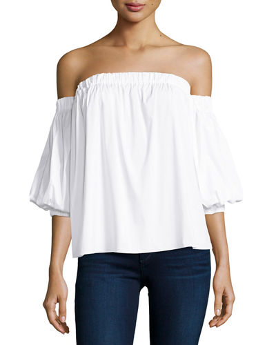 Milly Off-the-Shoulder Stretch-Cotton Blouse