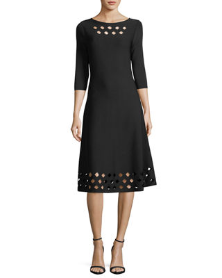 Image 1 of 3: Time Out Twirl 3/4-Sleeve Cutout Dress