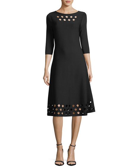 NIC+ZOE Time Out Twirl 3/4-Sleeve Cutout Dress