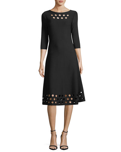 Time Out Twirl 3/4-Sleeve Cutout Dress, Petite