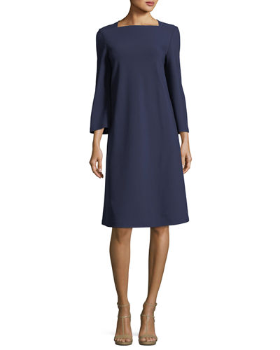 Square-Neck Punto Milano Flared Dress
