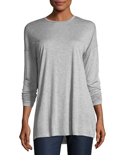Lafayette 148 New York Long-Sleeve Crewneck Featherweight Jersey