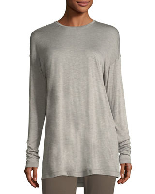 Long-Sleeve Crewneck Featherweight Jersey Top, Plus Size in Nougat Melange