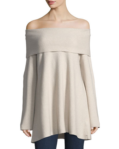 Off-the-Shoulder Cashmere Sweater