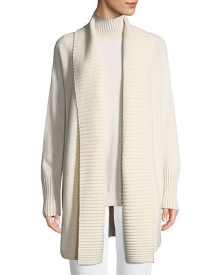 Lafayette 148 New York Vanise Long Ribbed-Trim Cashmere