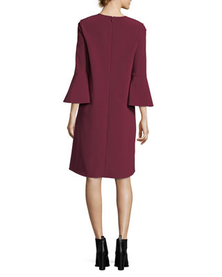 Image 2 of 2: Sidra 3/4-Bell-Sleeve Emory Cloth Dress