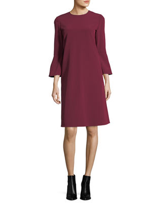 Image 1 of 2: Sidra 3/4-Bell-Sleeve Emory Cloth Dress