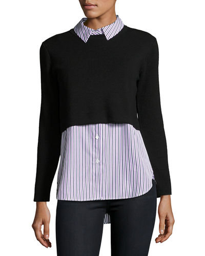 Layered Shirting Sweater Combo Top