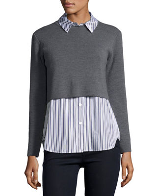 Milly Layered Shirting Sweater Combo Top
