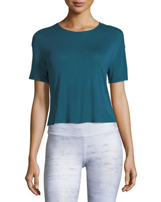 Entwine Short-Sleeve Lace-Back Athletic Top