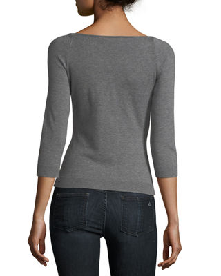 Image 2 of 2: Square-Neck Pullover