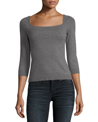 Image 1 of 2: Square-Neck Pullover