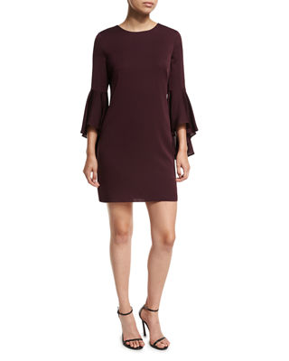Milly 3/4 Bell-Sleeve Stretch-Silk Dress