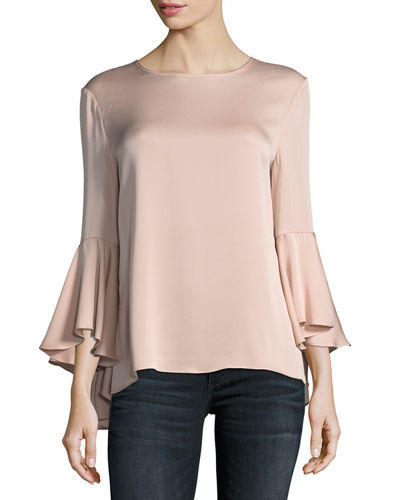 Milly Long Bell-Sleeve Stretch-Silk Blouse