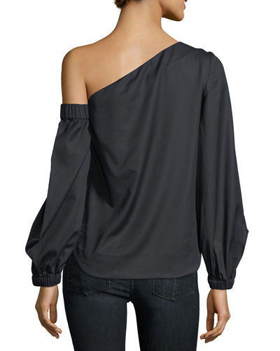 Arya One-Shoulder Cotton Herringbone Shirting Top