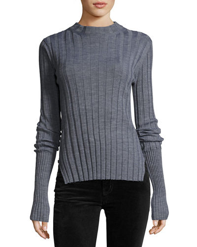 Theory Wide-Rib Mock Neck Fitted Sweater