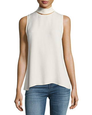 Slit-Collar Sleeveless Georgette Top