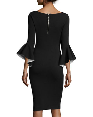 Milly Contrast Draped Bell-Sleeve Sheath Dress